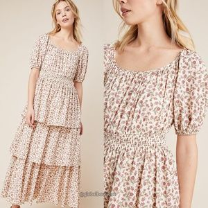 NWT ANTHROPOLOGIE Luciana Tiered Floral Maxi Dress